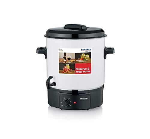 SEVERIN Einkochautomat mit stufenlosem Temperaturregler, kratzfester Glühweinkocher mit Zapfhahn, Einkochtopf für bis zu 14 Einmachgläser à 1 Liter, weiß/schwarz, EA 3654