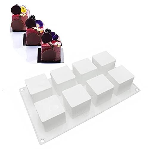 Stampo Quadrato in Silicone Con 8 Griglie Muffa del Cubo di Ghiaccio Stampo in Silicone Vaschetta del Ghiaccio 3D Cube Stampi da Forno in Silicone per Cioccolato Stampo Quadrato Mousse Cake Stain