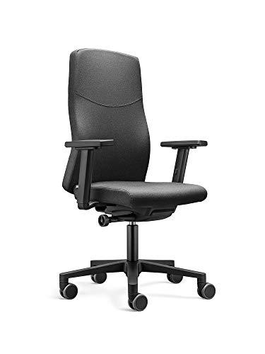 LÖFFLER Ergonomischer Bürostuhl / Drehstuhl BASIC mit verstellbarer Sitzhöhe, anpassbaren Armlehnen, Rückenlehne mit Gewichtsautomatik (Schwarz)
