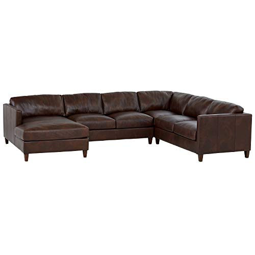 Amazon Brand – Stone & Beam Andover Right-Facing U-Shaped Sectional, 134'W, Driftwood Leather