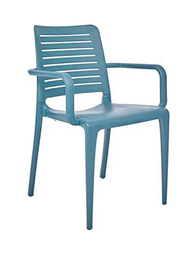 DCB GARDEN Park Fauteuil de Jardin, Bleu, 56x56,5x84 cm