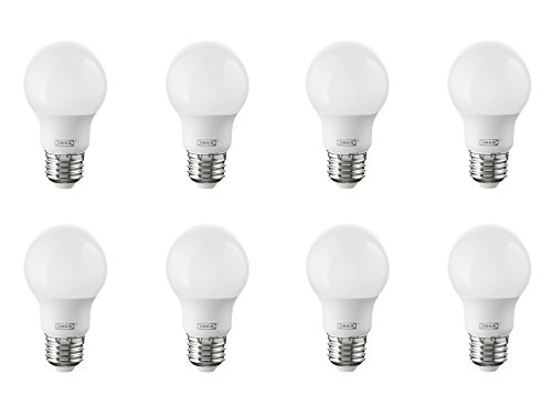 IKEA Ryet E26 Energy Saving LED Light Bulb Bundle - 35 Watt Equivalent - Warm White - 2700 Kelvin - Globe Opal - Non Dimmable, 8 Pack [400 Lumen]