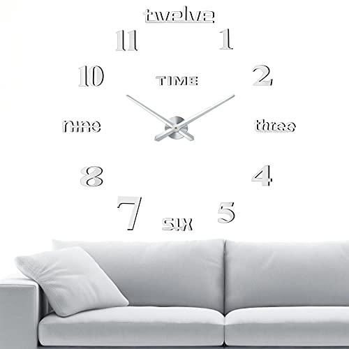 Reloj de Pared 3D sin Marco, Comius Sharp Moderno Reloj de Pared Silencioso, DIY Reloj de Pared Adhesivo Reloj de Pared Decoración Ideal para la Casa Oficina Hotel Restaurante (Silver)