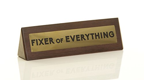 Boxer Gifts 'Fixer of Everything' Novelty Wooden Desk Warning Sign | Office Humour Gift for Colleague Boss Dad | 4.5cm x 17.5cm Brown DK1041