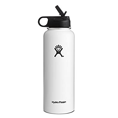 Hydro Flask Vacuum Insulated Stainless Steel Water Bottle Wide Mouth with Straw Lid (White, 40-Ounce)