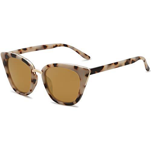 SOJOS Cat Eye Designer Sunglasses Fashion UV400 Protection Glasses SJ2052 with Brown Tortoise Frame/Gold Mirrored Lens