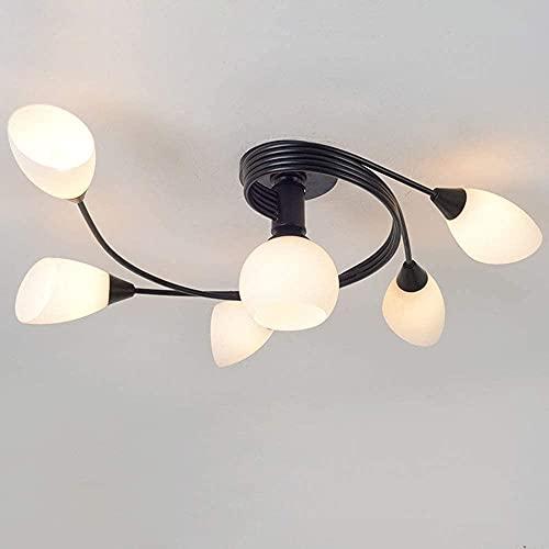 Wlnnes Forma de flor Lámpara de techo 4 luces Dormitorio negro Luz de techo Lámpara de comedor E27 Socket Max.40W, moderna lámpara de la sala de estar hecha de la lámpara de hierro cuerpo y la lámpara