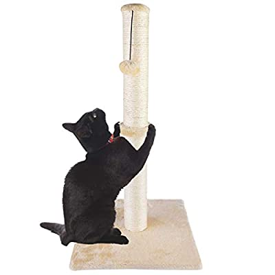 "Dimaka 34"" Tall Ultimate Cat Scratching Post, Claw Scratcher with Sisal Rope and Covered with Soft Smooth Plush, Vertical Scratch [Full Stretch], Modern Stable Design 34 in Height (Beige V2)"
