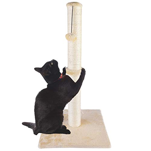 Dimaka 34' Tall Ultimate Cat Scratching Post, Claw Scratcher with Sisal Rope and Covered with Soft Smooth Plush, Vertical Scratch [Full Stretch], Modern Stable Design 34 in Height (Beige V2)