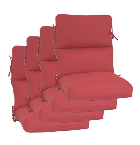 "Set of 4 Outdoor Chair Cushion 22"" W x 44"" L x 3"" H. Solution Dyed Acrylic Linen Red Fabric by Comfort Classics Inc."