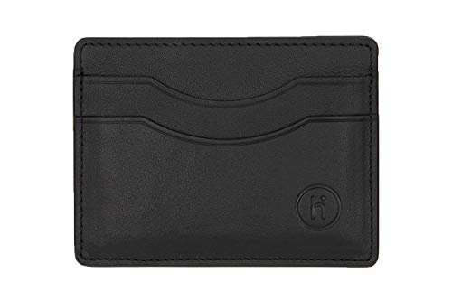 Hide Men's Premium Leather Slim Minimalist Wallet | RFID Secure Cash Holder for Travel & Business | Compact Backpack & Luggage |Credit & Debit Cards Front Pocket Storage | Best Gifts for Men (Black)