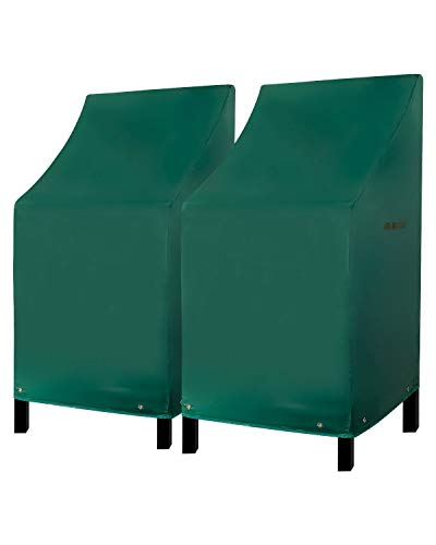 Konln Patio Chairs Covers Outdoor Bar Stool Cover Stackable Chairs Cover 420D Waterproof Furniture Covers Durable PVC Thick Oxford Cloth Green (L27.5 x D27.5 x H49.2 inch, 2Pack)