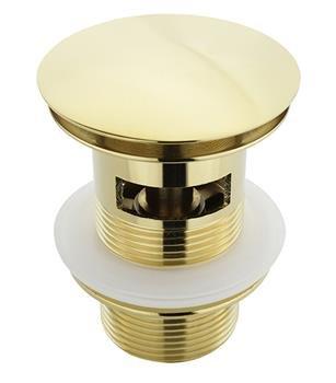 ATCO® PU20 mit Überlauf Pop-Up Ventil Ablauf Ablaufgarnitur Excenter Exzenter Abfluss Klick-Ventil Waschtisch Waschbecken mit Überlauf gold vergoldet