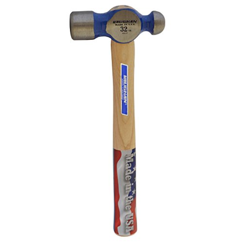 Vaughan S432 32-Ounce Hickory Handle Super Steel Ball Pein Hammer, 15 3/4-Inch Long.