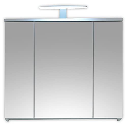 Stella Trading Spice-Armario con Espejo para baño con iluminación LED en Color Blanco Brillante, Brillo Intenso, 80 x 67 x 20 cm