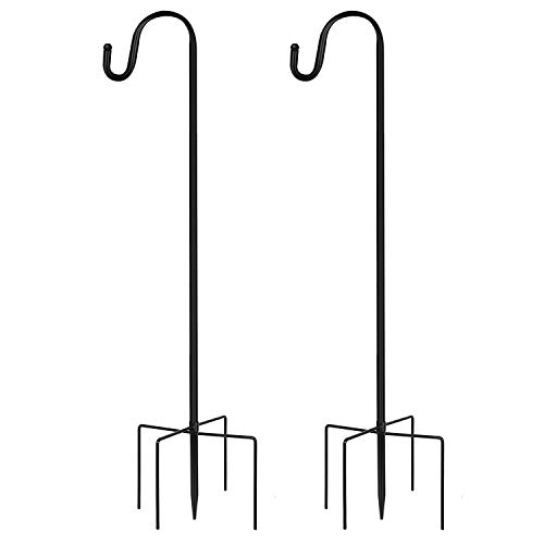 JOYSEUS 2 Pack Shepherd Hook 48 Inch, 1/2 Inch Thick Heavy Duty Rust Resistant Shepards Hooks Outdoor Hangers for Hanging Plants, Solar Lights, Lanterns, Bird Feeders and Wind Chimes