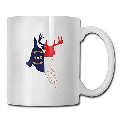 Taza con bandera de ciervo de Carolina del Norte, taza de café para bebidas calientes, taza de gres, taza de café de cerámica, taza de té de 11 onzas, divertida taza de regalo para té y café