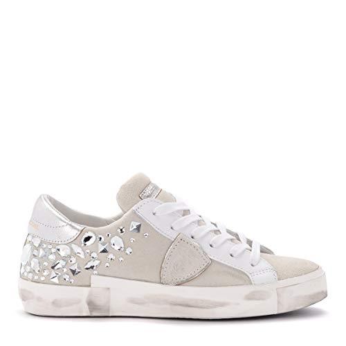 Philippe Model Sneaker Paris X In Weißem Veloursleder Mit Swarovski-Steinen