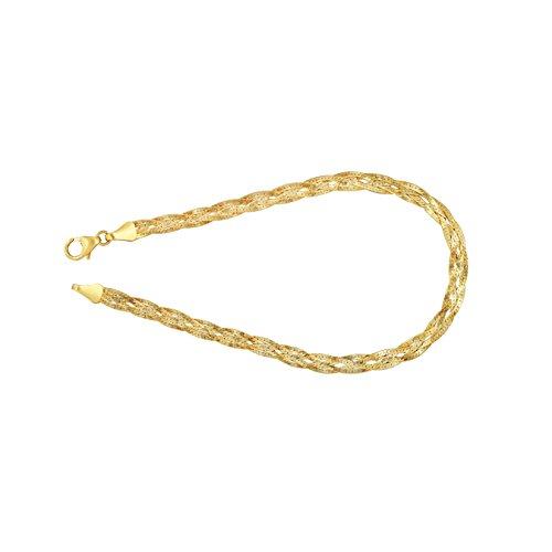 Armband als Herringbone Kette in Gelbgold 375 / 9K, 19 cm lang, 3,8 mm breit, Gewicht ca. 2.1 g.
