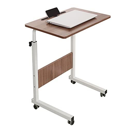 sogesfurniture Laptoptisch höhenverstellbar, Mobiler Beistelltisch Sofatisch Notebooktisch Pflegetisch mit Rollen, Tablet Steckplatz für Bett, Sofa, Eiche BHEU-CXYM-05#3-60HW