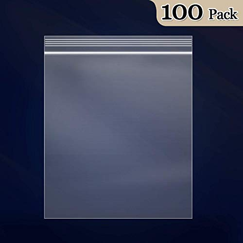 "100 Count - 10"" x 13"", 2 Mil Clear Plastic Reclosable Zip Poly Bags with Resealable Lock Seal Zipper for Prints, Photos, Documents, Clothing, T-Shirt"