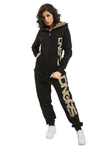 EGOMAXX DNGRS Damen Jogging Anzug Sweat Suit Set Freizeit Catstealth, Farben:Schwarz, Größe:34 / XS
