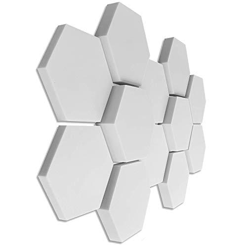 12 Schallabsorber 3D-Set aus Basotect  G+  Hexagon Akustik Elemente - platino24  - Qualitäts-Schalldämmung