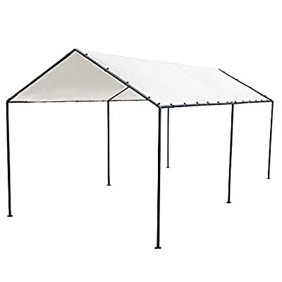 Abba Patio 10' x 20' Carport Metal Light Portable Garage Canopy Party Tent Car Shelter with 6 Steel Legs for Vehicle,Boat,Storage and Ourdoor Events, White