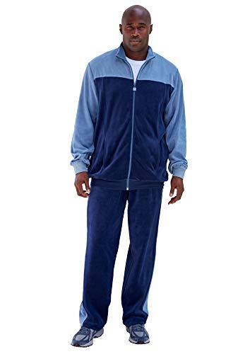 KingSize Men's Big & Tall Colorblock Velour Tracksuit - Tall - 4XL, Navy Slate Blue