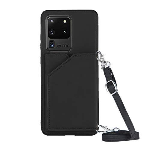 Billetera titular de la tarjeta de crédito con cordón caso del teléfono para Samsung Galaxy S20 Ultra(6.9inch) (negro)