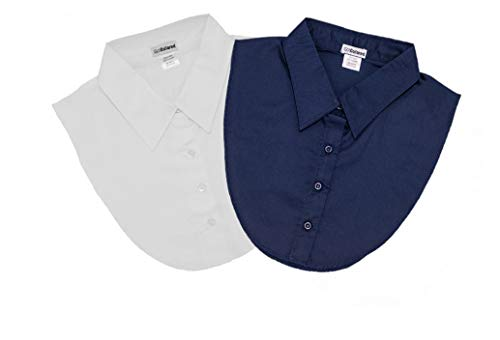 IGotCollared Womens Detachable Collar, Stylish, Comfortable, 2-Pack Navy Blue, White, Women's Dickey False Collar