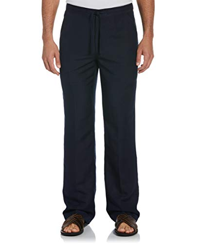 Cubavera Men's Drawstring Linen-Blend Pant with Back Elastic Waistband, Dress Blues, X Large x 30L