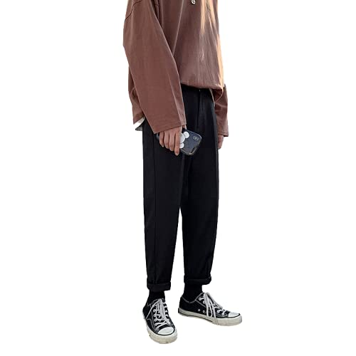Pantalones de Hombre Primavera y otoño Color sólido Pierna Recta Suelta Juventud Cómodo Color sólido Pantalones Casuales de Todo fósforo XXL