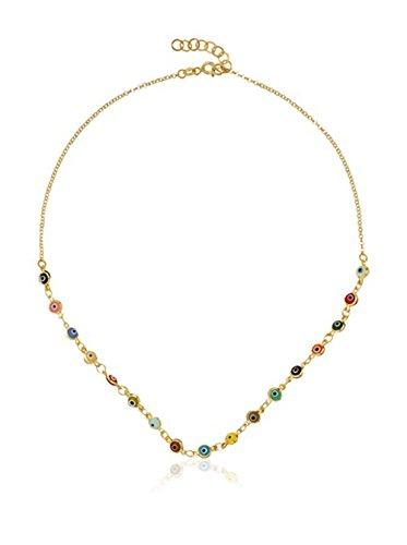 Córdoba Jewels | Gargantilla en Plata de Ley 925 bañado en Oro. Diseño Ojo Turco Oro