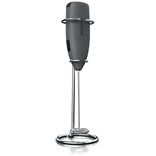 Arendo - Milchaufschäumer - elektrischer Stab Milchaufschäumer mit Batteriebetrieb - Motor mit 14.200 U/min - Spezialspirale - Cappuccino Shakes Cocktails Dressings – leichte Reinigung