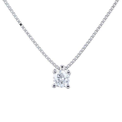 Gioiello Italiano - Collana punto luce in oro bianco 18kt con diamante 0.22ct, colore F, 44cm, da donna