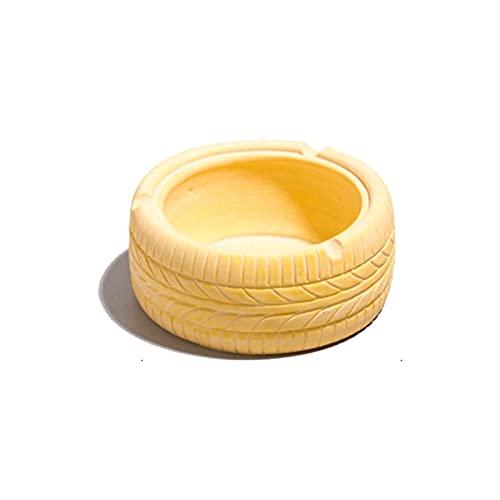 AO HAI ceniceros Neumático Cenicero Creativo Personalidad Oficina Bar Cafe Home Desktop Decoration, Cigar Cenicero Inicio Neumático Forma Ronda Cenicero cenicero portatil (Color : Golden Yellow)