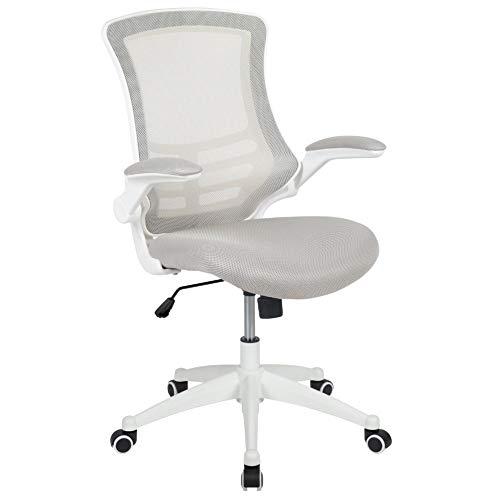 Flash Furniture Sedia da Ufficio, Materiale espanso, Rete Grigio Chiaro/Telaio Bianco, 64.77 x 62.23 x 104.78 cm