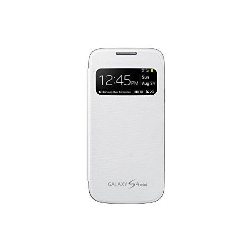 Samsung S-View - Funda oficial para móvil Galaxy S4 Mini (Pantalla frontal, teclas laterales para activar la pantalla), blanco- Versión Extranjera