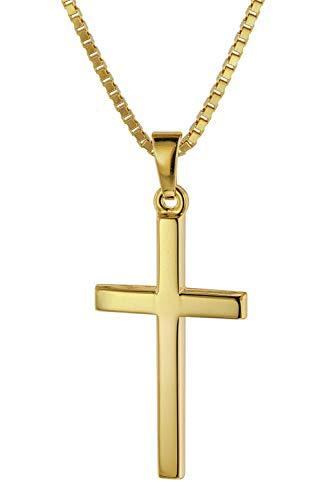 trendor Kreuz 26 mm Gelbgold 333/8 Karat mit vergoldeter Halskette 75412-50 50 cm