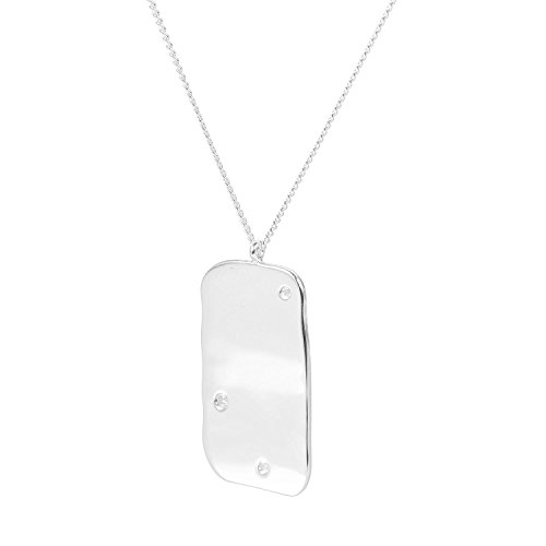 Louise Kragh Damen Diamantkette Raw Diamand Platten-Anhänger 3 Diamanten Sterling Silber 925 - N-DIA0103s