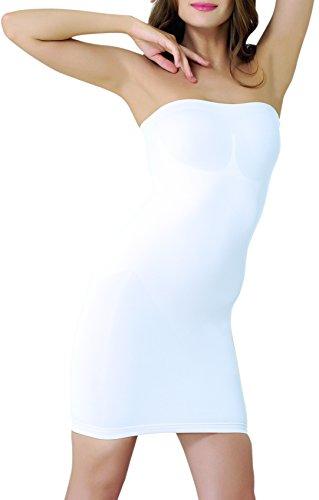 UnsichtBra Shapewear Damen Trägerloses Kleid | Shaping Unterkleid Trägerlos | Bodyformer Shape-Kleid in schwarz, weiß oder beige (sw_3200)(L,Weiss-Kniel.)