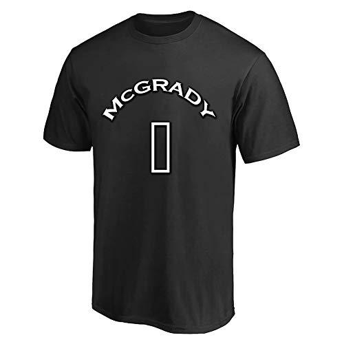 Camiseta Tracy McGrady # 1 Sudaderas para aficionados al baloncesto Camiseta de manga corta de entrenamiento deportivo Viene con una gorra de béisbol negra. ( Color : Black , Size : XX-Large )