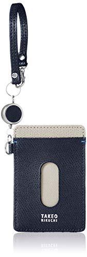[タケオキクチ] 財布 メンズ 定期入れ パスケース 伸縮リール付 2面カード収納 キャーロ ネイビー