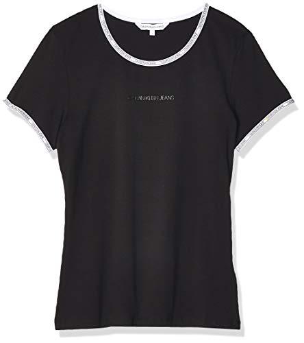 Calvin Klein Jeans Damen Logo Trim Ss Top Hemd, Black, XL