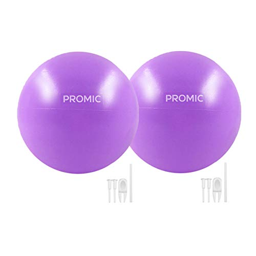 PROMIC Mini Yoga Pilates Ball, 9 Inch Anti-Burst Physical Therapy Exercise Balls with Inflatable Straw, Great for Stability, Barre, Pilates, Yoga, Abdominal Workouts and Core Strength (Purple, 2 Pcs)