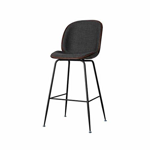 CL& Barhocker aus Eisen, moderner Barstuhl, schwarzes, hochwertiges Baumwollkissen und Schmiedeeisengerüst, geeignet für Theke, Küchenbar, Sitzhöhe 65 Laden Barhocker