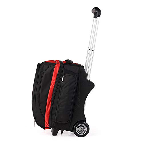 KXDLR Deluxe Doppel Roller Mit Maxi-Zubehörtasche Bowling Bag,Rot