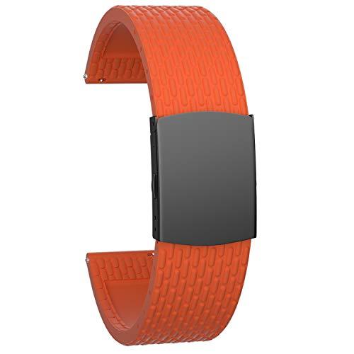 SOUWILA Correa Reloj Recambios Correa Relojes Caucho 16/18/20/22/24mm Silicona Correa Reloj con Acero Inoxidable Hebilla Desplegable (20mm, Orange-Black)