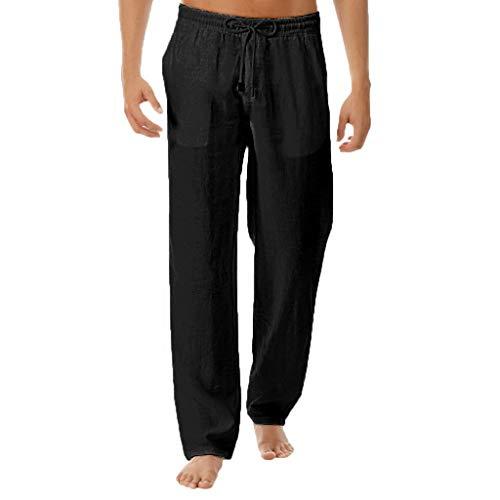Xmiral Jeans Uomo Strappato Pantaloni Sportivi Uomo Pantaloni Tuta da Lavoro Uomo Compressione Uomo Pantalone Lino Uomo Leggins Uomo (L,1- Nero)